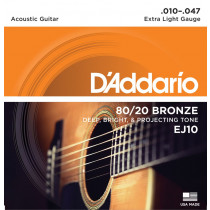 D'Addario  EJ10 Extra Light 010 014 023w 030w 039w 047
